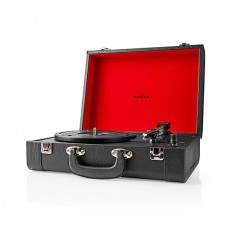 Gira-Discos Nedis 18W Bluetooth 33 / 45 / 78 Rpm Com Bateria Mala Preta